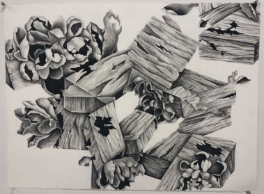 abstract charcoal drawing reminiscent of wood and pinecones