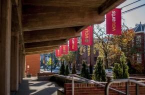 v c u arts banners outside of pollak building