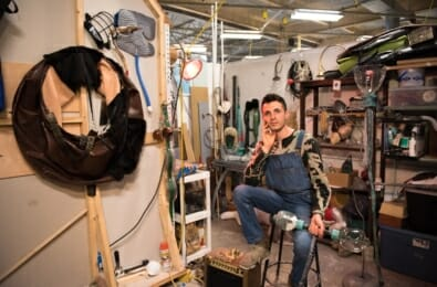 Sculpture + Extended Media alum, Nima Jeizan (BFA '18), in his studio