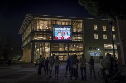Vitrine Screen at night on the James Branch Cabell Library