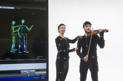 Susanna Klein (left) has students analyze video recordings of themselves performing as part of a more effective, real-world, student-centered learning model. The model has been adopted using VCUarts' state-of-the-art motion capture lab at The Depot, supported by a grant from ALT Lab.