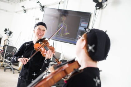 Susanna Klein and her student in the motion capture studio