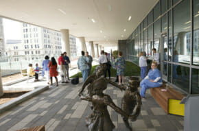Patio at VCU Children's Hospital with nurses, staff gathered