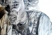Charcoal drawing by Amuri Morris, Self-Portrait as a Grandma