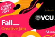 Promo image with text reading Fall Creative Jam VCU