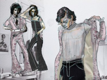 Concept sketches of a long floral jacket, black jumpsuit, and floral jumpsuit